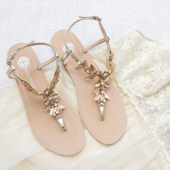 Böhmische Hochzeit Sandalen Schuhe Mit Vergoldetem Messing