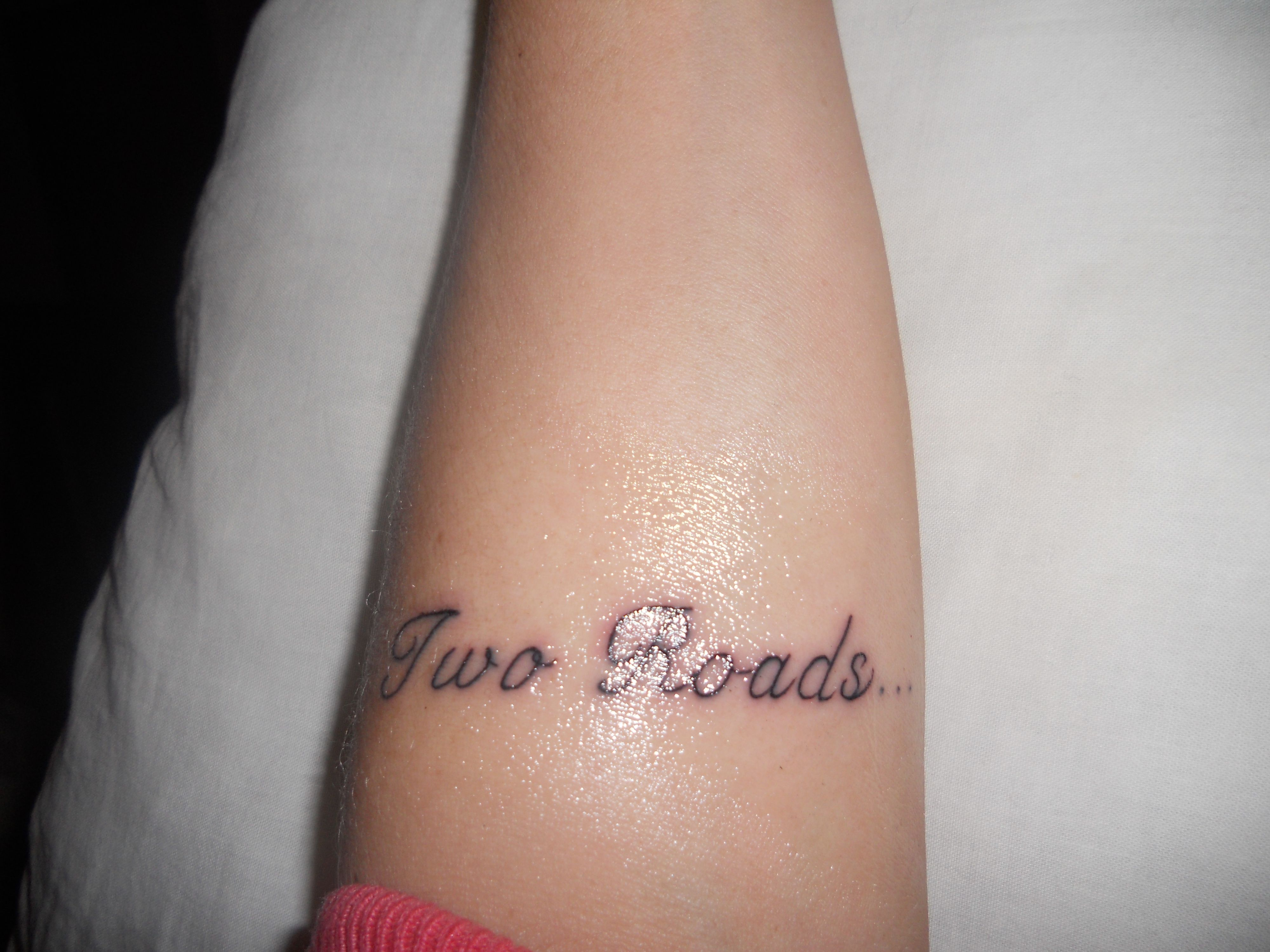 New Tattoo On My Forearm O Roads Diverged In A Wood
