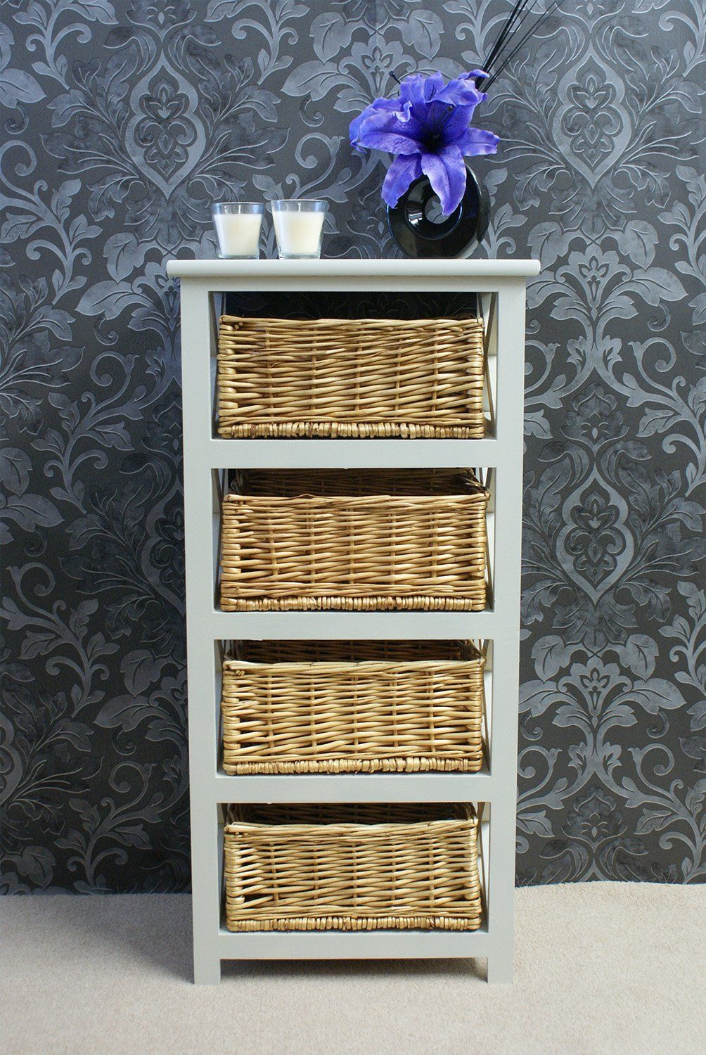 Gloucester Petite 4 Rattan Basket Drawer Storage Unit Tallboy Chest In  White Stone Painted Finish: