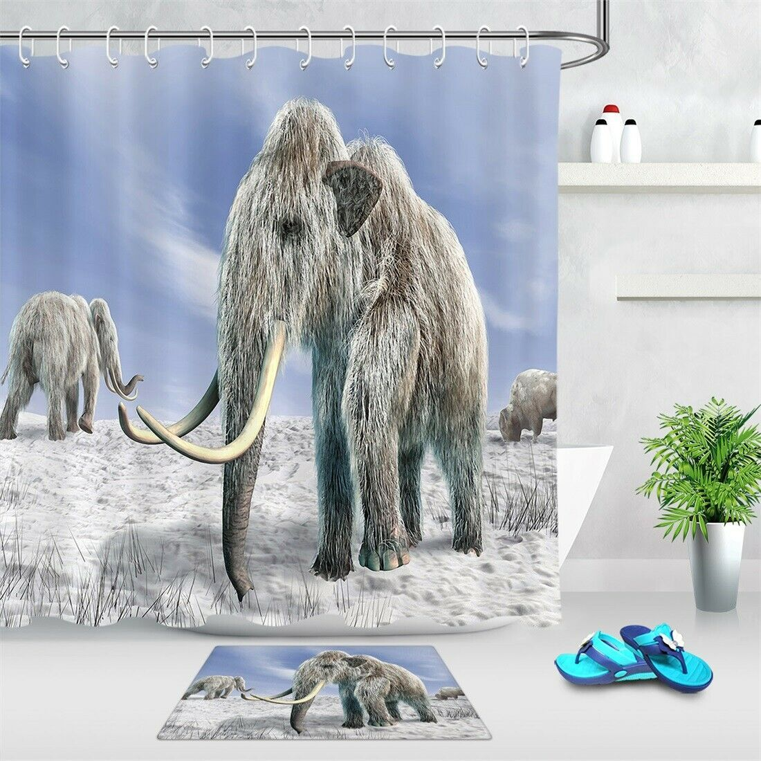 Elephant Mother and Child Shower Curtain Bathroom Decor Fabric /& 12hooks 71x71in