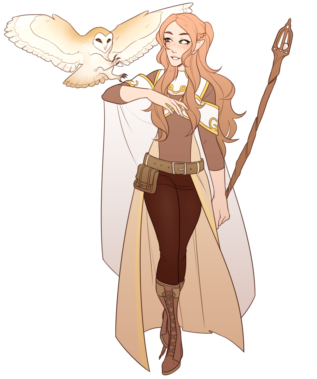 I Commissioned Dejasquietplace To Draw My Dnd Character Ailynn The Half Elf Cleric With Her Owl Chur Dungeons And Dragons Characters Dnd Elves Elf Characters