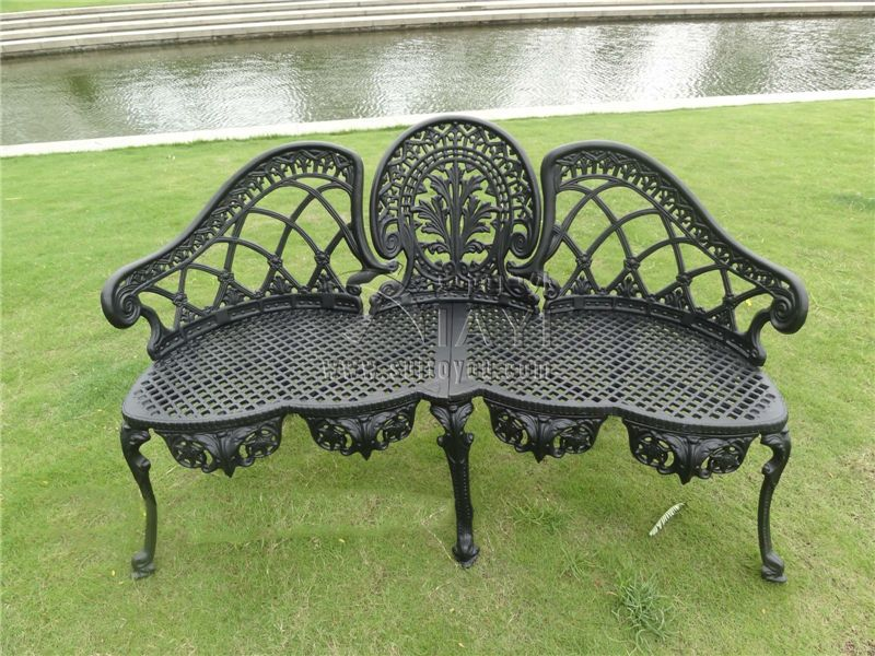 3 Person Luxury Durable Cast Aluminum Park Chair Garden Bench Patio Benches Outdoor  Furniture Black /