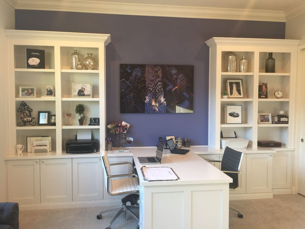 Custom office with his and hers desks and bookshelves   Home ...
