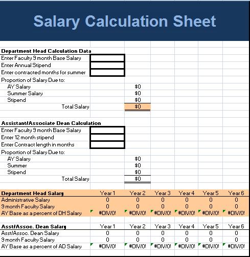 Salary Calculation Sheet Template