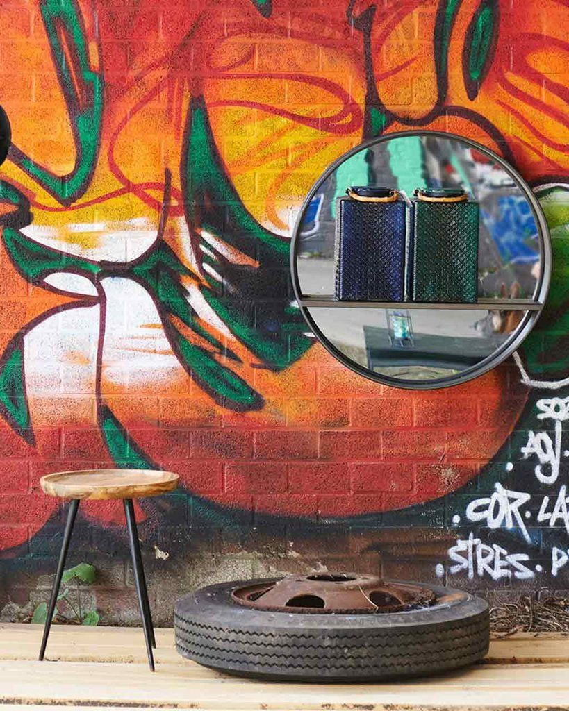 Loft black round wall mirror with shelf mirrordeco decorative