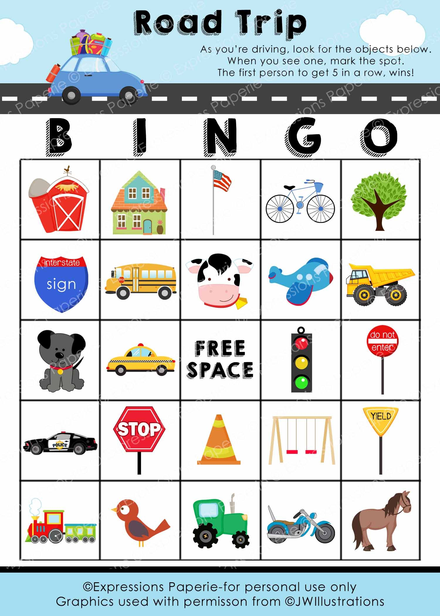 Free Printable Road Trip Bingo Cards