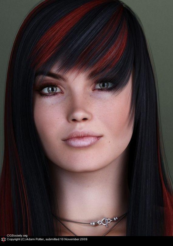 Artist Of The Week Adam Potter Pixel77 Black Red Hair Hair Color For Black Hair Black Hair With Red Highlights