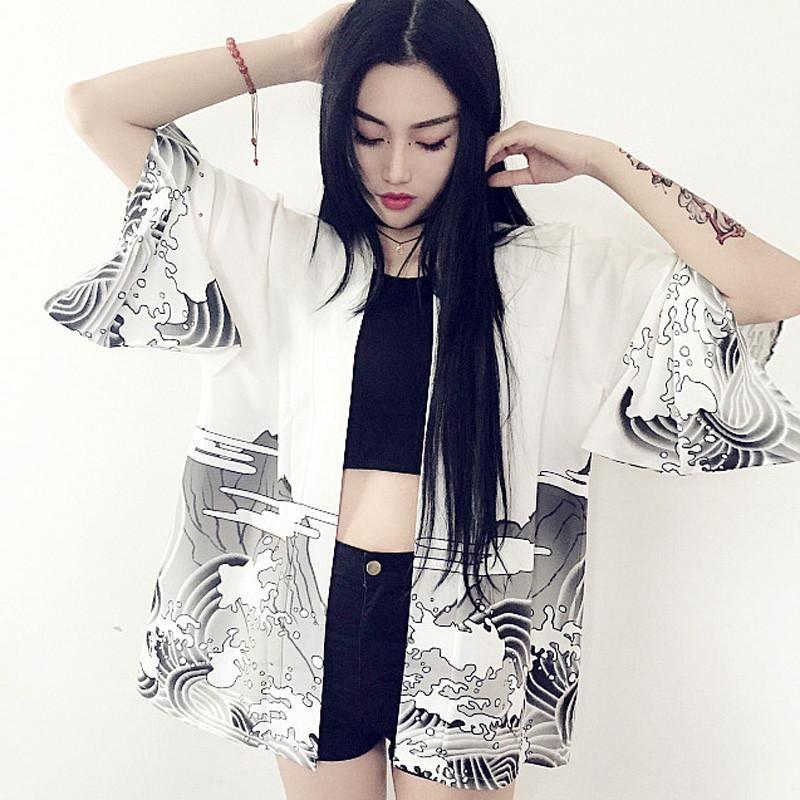 Women's Clothing Brave Summer Spring Autumn Streetwear Korean Japan Women Kimono Loose Cardigans Top Shirt Long Blouse Chiffon Windbreaker Retro Print