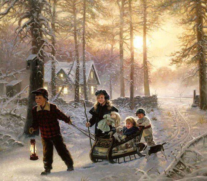 Ретро открытки зимние забавы