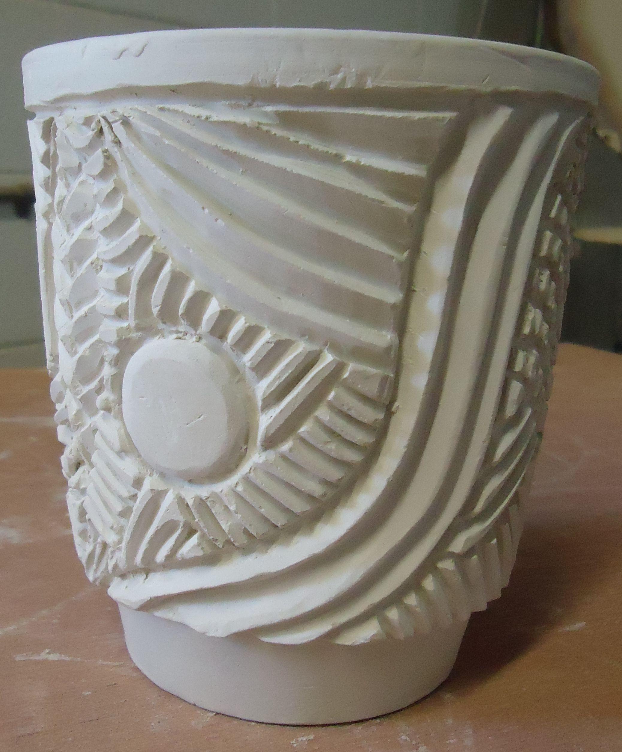 Thrown carved greenware pot michael macdonald just