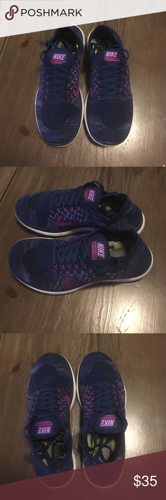 77c9cb37a67d Nike Free 4.0 Flyknit Navy blue with pink and purple detail Nike Free 4.0  Flyknit shoes. Women s size 7.5. No snags or tears. Nike Shoes Athletic  Shoes