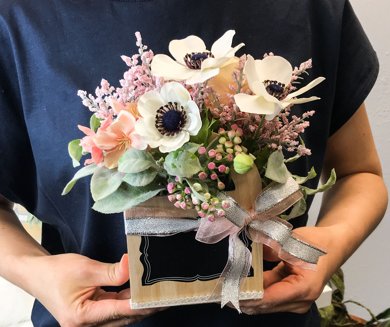 small silk flower arrangement for Teacher's Appreciation