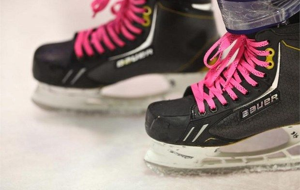 Pink Laces On Ice Skates Of Medvescak S Hockey Players Hockey Equipment Hockey Players Pink Lace