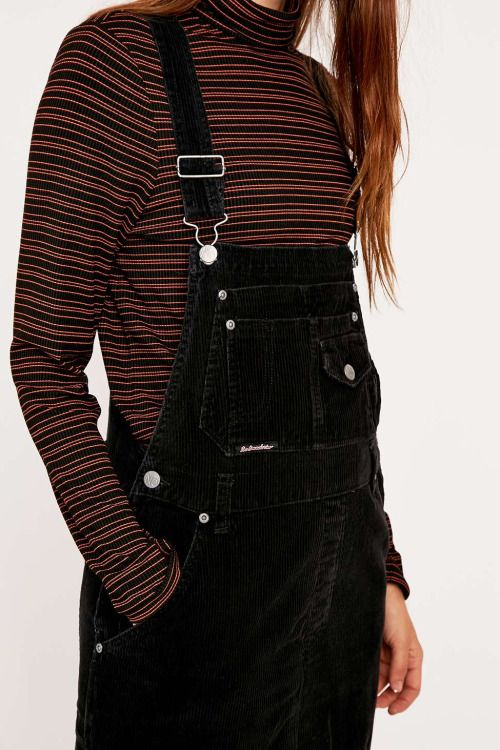 california-diamond:  Urban Outfitters Vintage Re-Made Black Cord Dungarees @URBAN OUTFITTERS