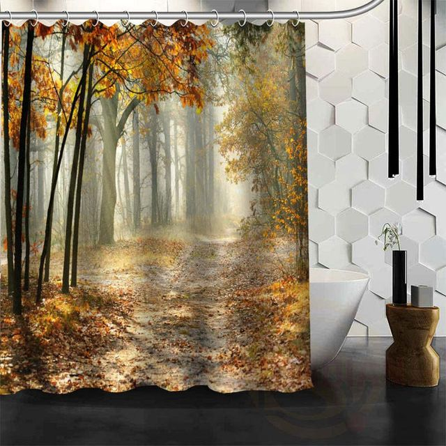 Bathroom Shower Waterproof Fabric Nature Scenery Curtain Panel Sheer 12 Hook HOT