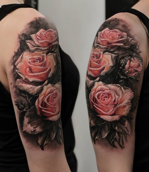 120 meaningful rose tattoo designs pink rose tattoos tattoo half sleeves and rose tattoos. Black Bedroom Furniture Sets. Home Design Ideas