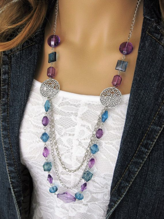 Long Blue And Purple Beaded Necklaces Beaded Necklaces