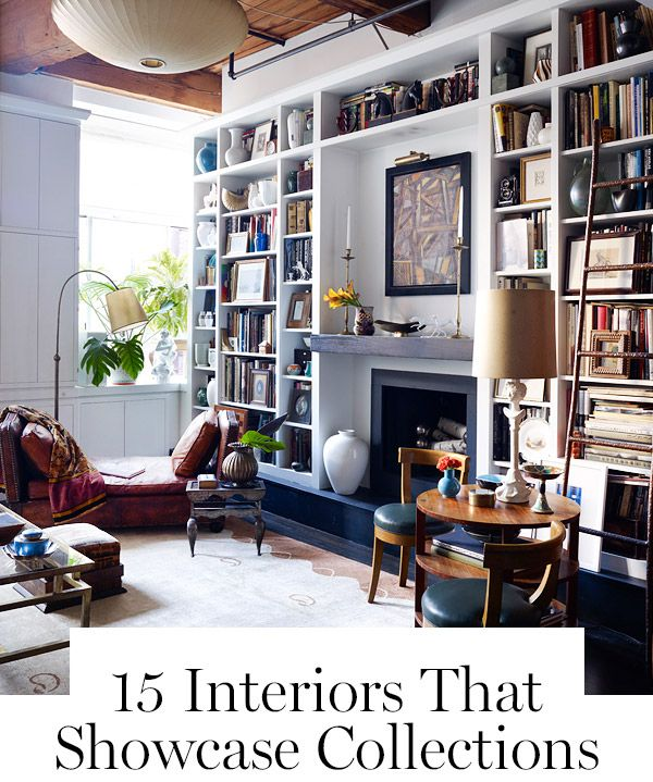 15 Interiors That Showcase Collections   Cozy home library ...