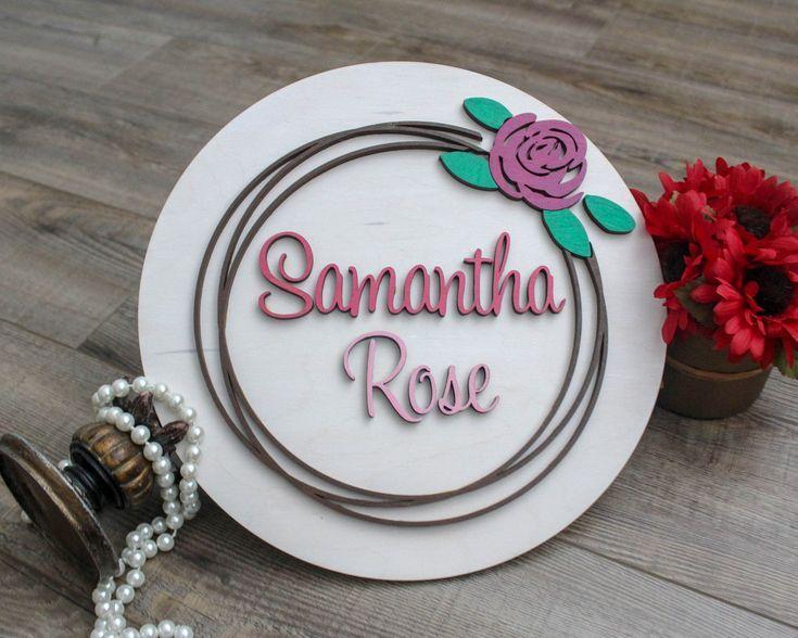 Flower Name Sign for Bedroom, Girls Room Decor, 12″ Round ...