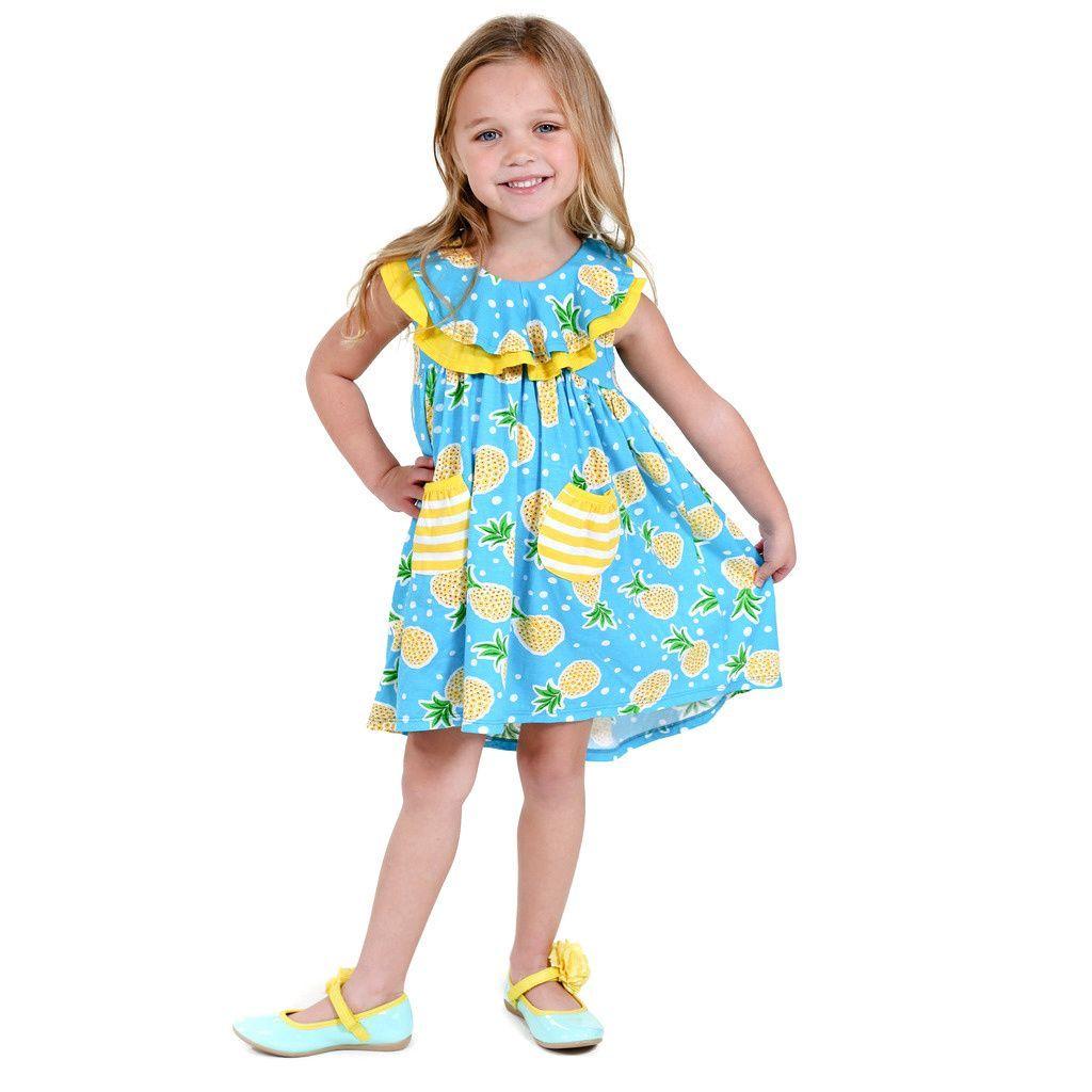 Jelly the Pug Girls' Becca Sleeveless Round Neck Dress Girl's