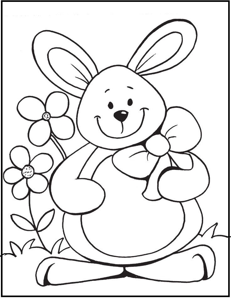Happy Easter Day By Cute Rabbit Coloring Picture For Kids