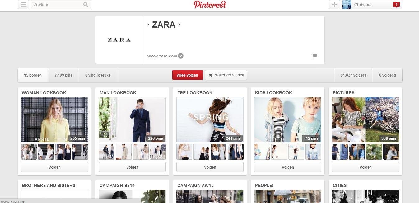 De kledingketen ZARA heeft zijn eigen pinterest waarop alle collecties per bord getoond worden. Op die manier kun je heel overzichtelijk de collecties bekijken en als je de outfit mooi vind, kun je hem pinnen en zien al je vrienden hem. Zo maak je reclame voor ZARA. Slim gezien vind ik persoonlijk! De link: http://www.pinterest.com/zaraofficial/