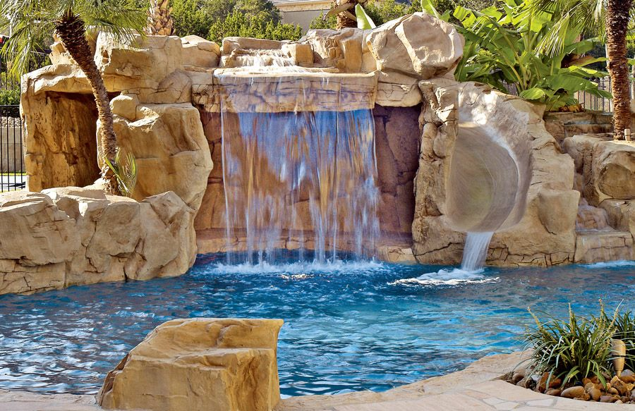 Swimming Pool Rock Waterfall Pictures With Images Swimming Pool Waterfall Pool Waterfall Waterfalls Backyard