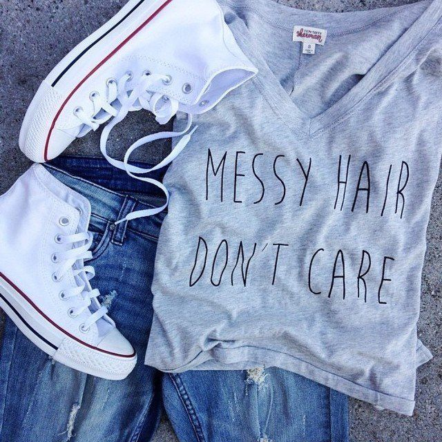 Fancy - Messy Hair Don't Care V-Neck Tee by Ten Sixty Sherman