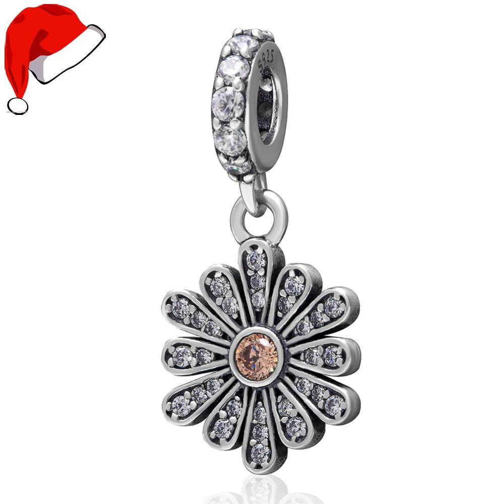 Sterling Silver Necklace w// Dangling CZ Stones Flowers Pendant