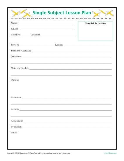 Daily SIngle Subject Lesson Plan Template - Elementary Lesson - daily lesson plan template word