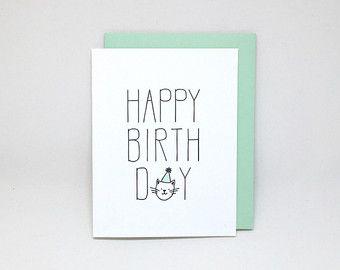 Happy Birthday Card Letterpress Cat Lover From