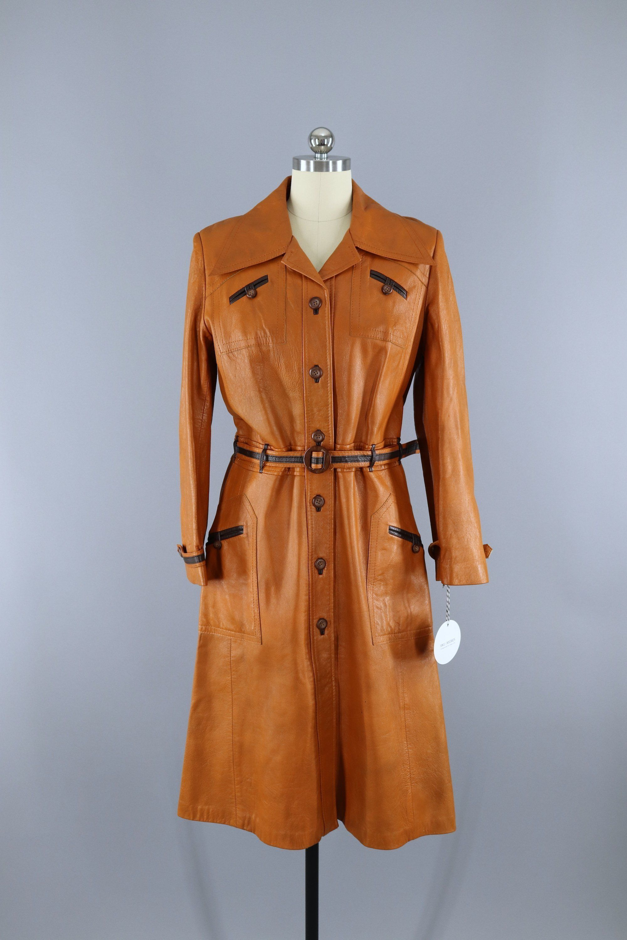 Vintage 1970s Tan Brown Leather Trench Coat Leather