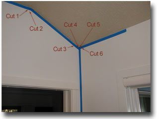 how to cut quarter round for ceiling corners