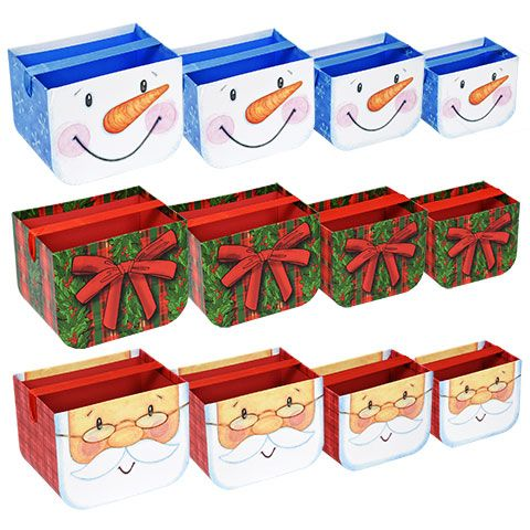christmas paperboard buckets with ribbon handles christmas gift boxes dollar tree gift bags