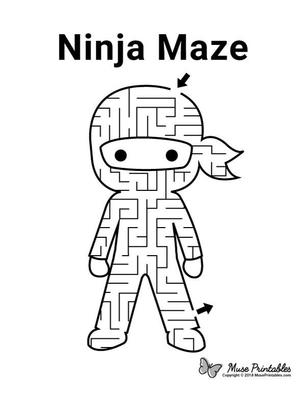 Free Printable Ninja Maze Download It At Https Museprintables Com Download Maze Ninja Activity Sheets For Kids Printables Free Kids Mazes For Kids