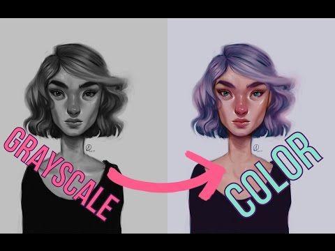 DIGITAL ART Grayscale to Color Tutorial - YouTube Digital