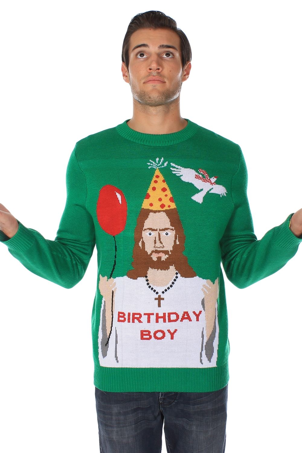 Men\'s Happy Birthday Jesus Ugly Christmas Sweater | Ugly Christmas ...