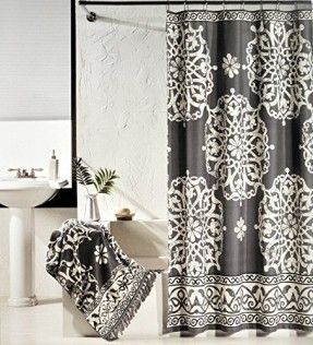 Tahari Luxury Cotton Shower Curtain Charcoal Gray And Ivory White Large Scroll Medallion Curtains