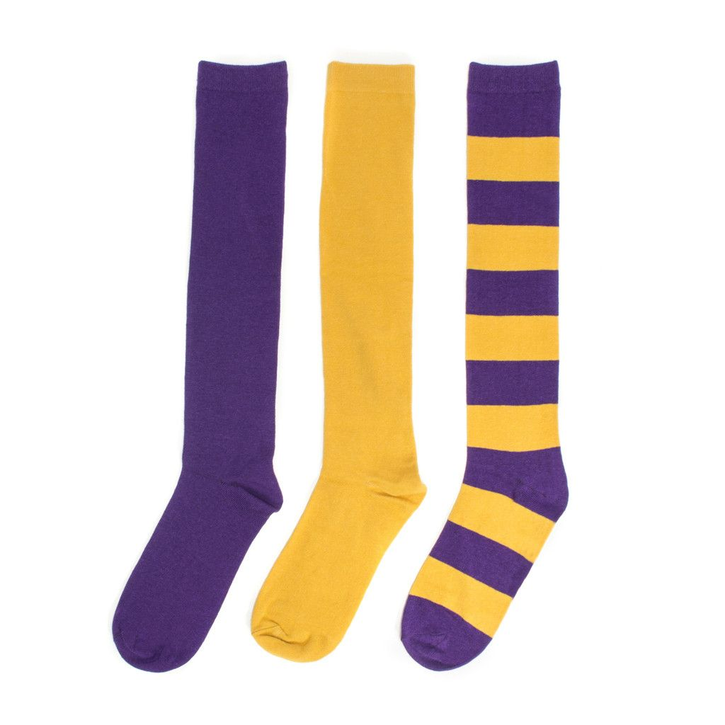 Purple + Gold 3-Pack Knee-High Socks #NFL #NBA #Vikings #Minnesota #LSU #Tigers #LAkers #Ravens