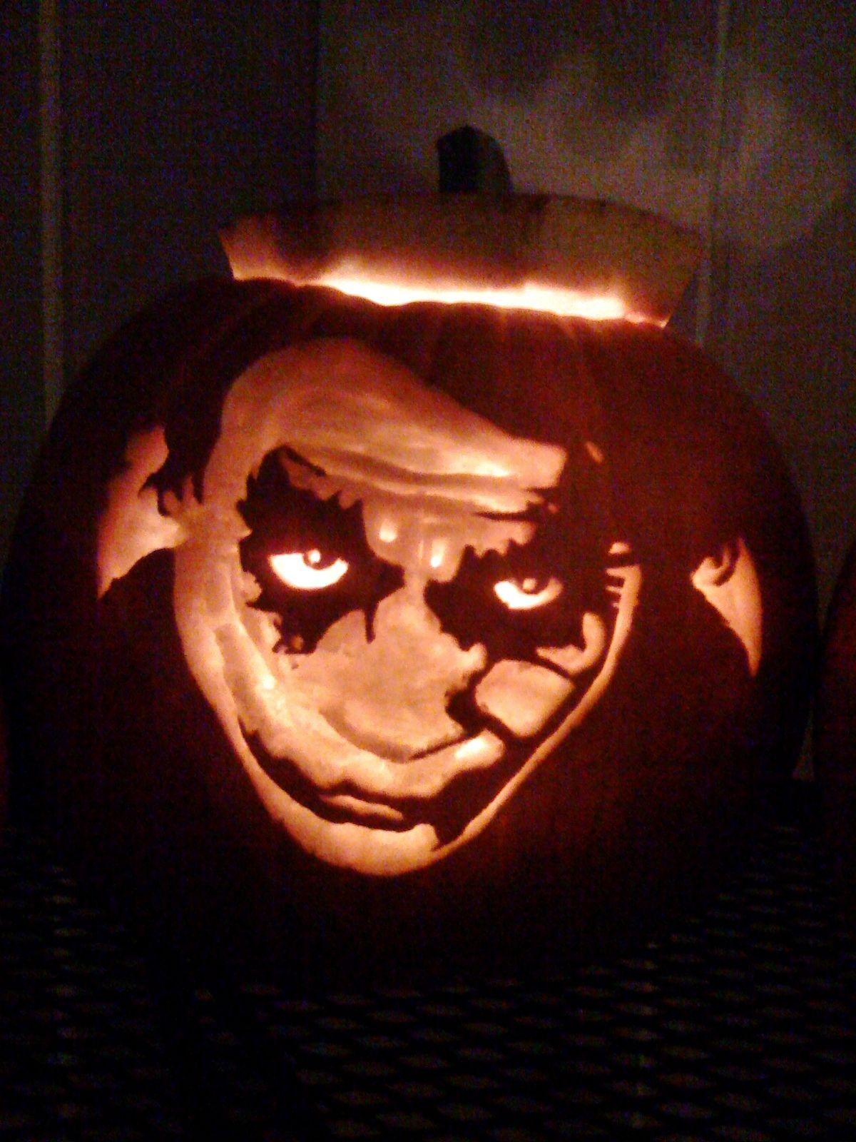 The joker dark knight carved pumpkin halloween