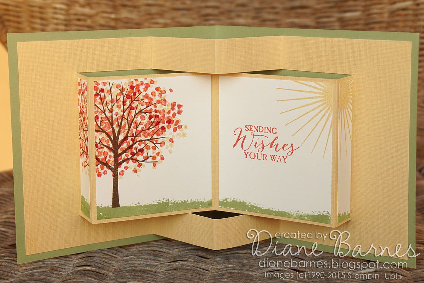 Card Making Ideas Pdf Part - 35: Pop Up Book Fancy Fold Card Using Stampin Up Sheltering Tree With Pdf  Template. By