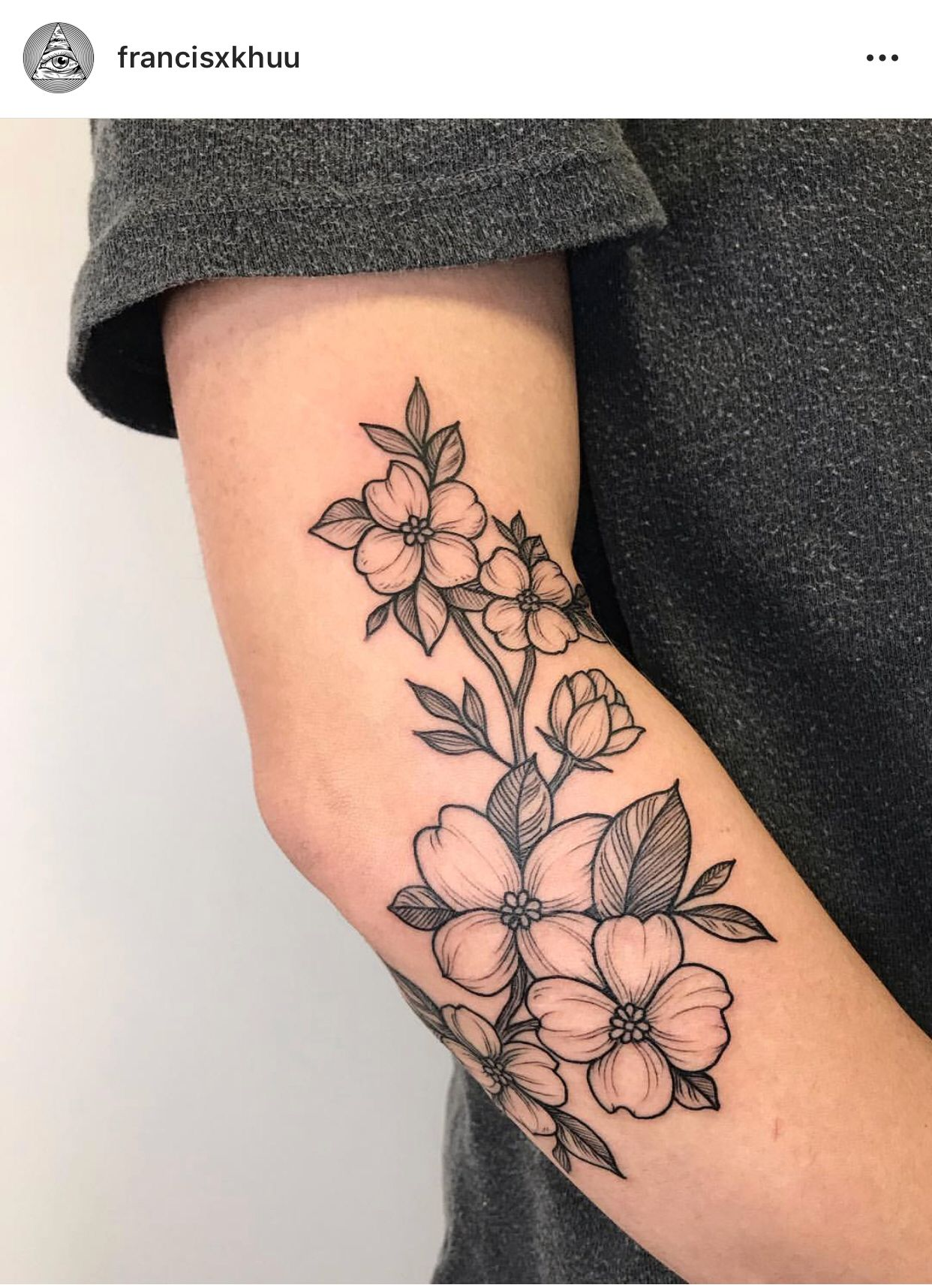 Fine linework tattoo blackwork tattoo artist floral arm
