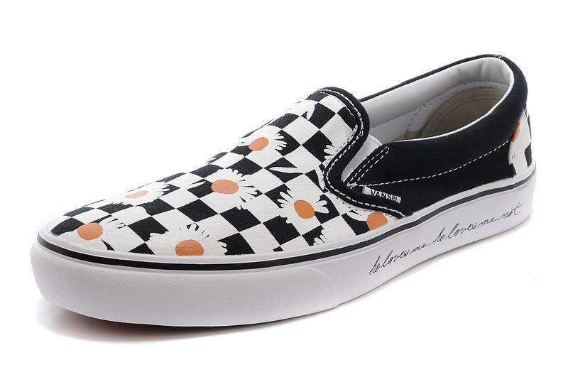Vans Daisy Slip-On Classic Black White Mens Shoes #Vans