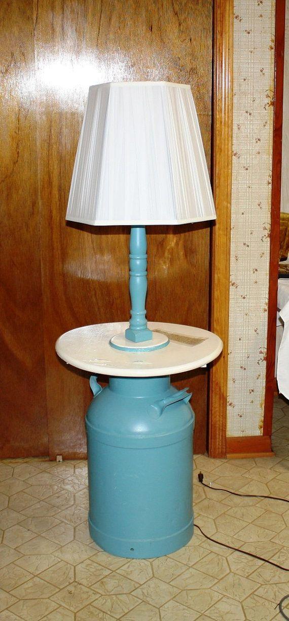 1930 S Milk Can Table Lamp Handmade By Dairy Farmer On Etsy 95 00 Table Lamp Milk Can Table Furniture Makeover