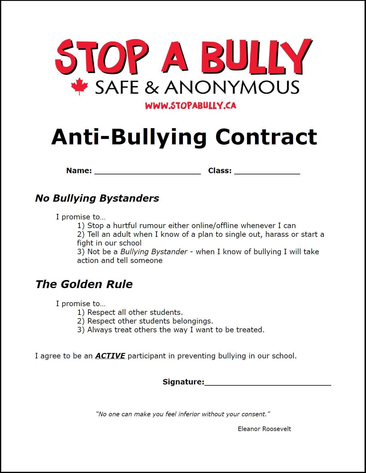 An Anti Bullying Contract Can Increase Awareness And Motivation Bullies To Change Their Behavior