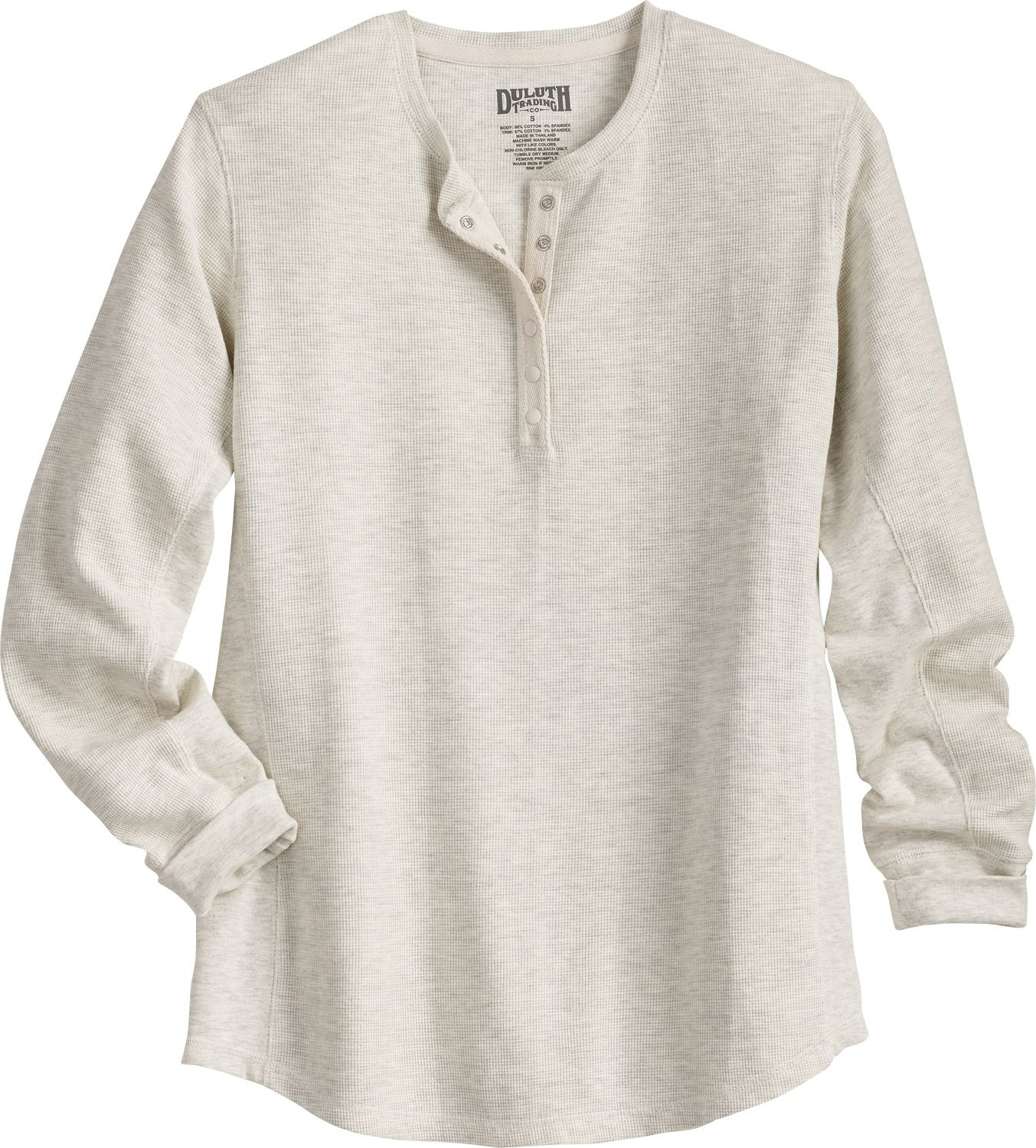 d28af11c Women's Longtail T® Waffle Henley Shirt's thermal grid pattern traps heat  to keep you warm. Plus, rib knit side panels stretch for easy movement!