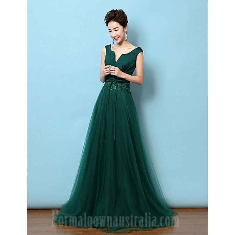 Australia Formal Evening Dress Dark Green A Line V Neck Court Train