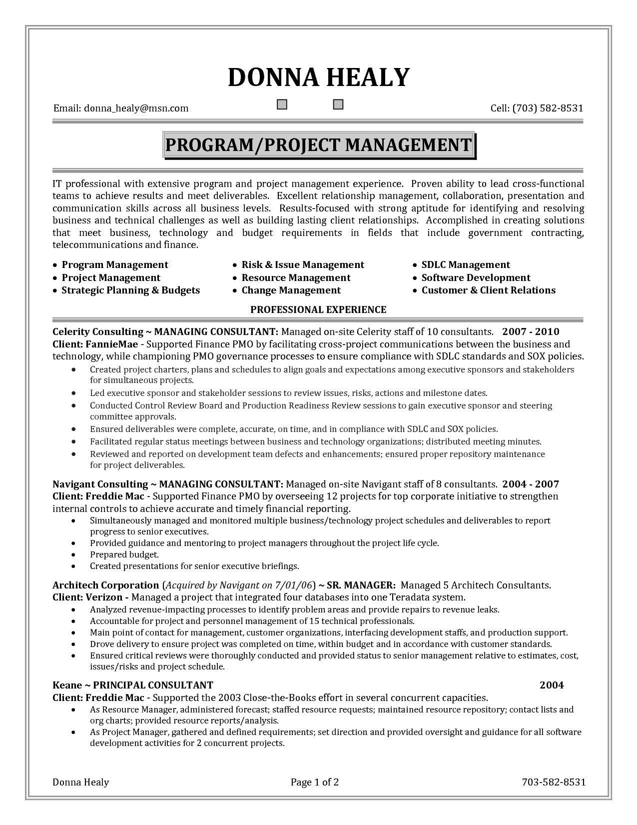 Financial analysis report sample project manager resume