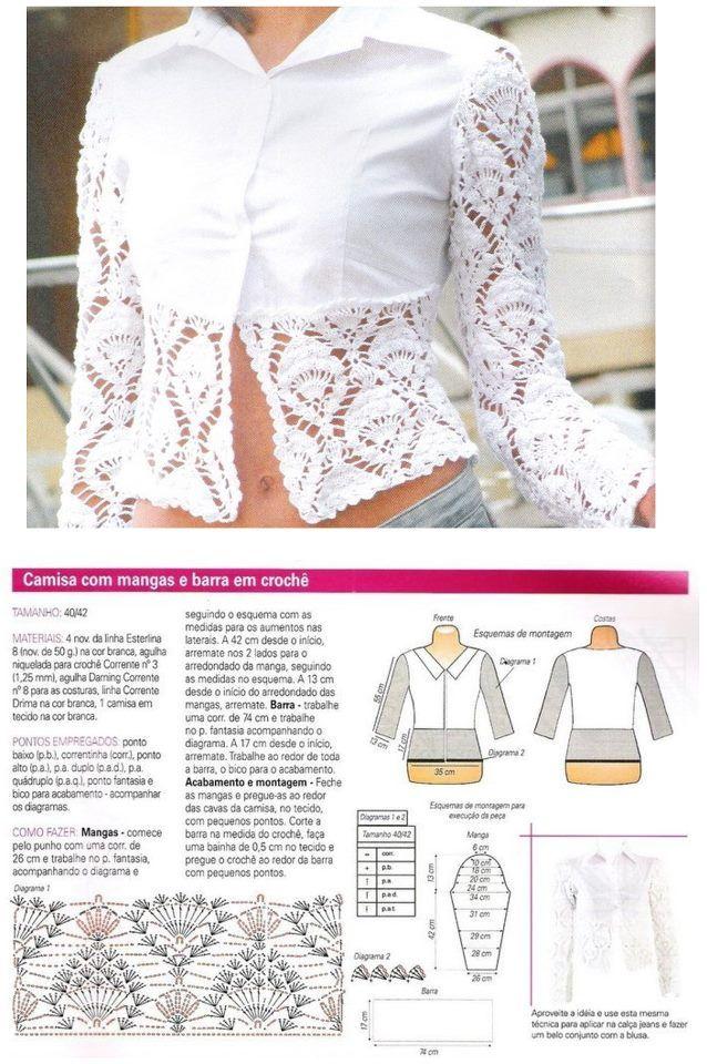 Pin de GLORIA DEL ROSARIO MORALES en blusas crochet | Pinterest ...