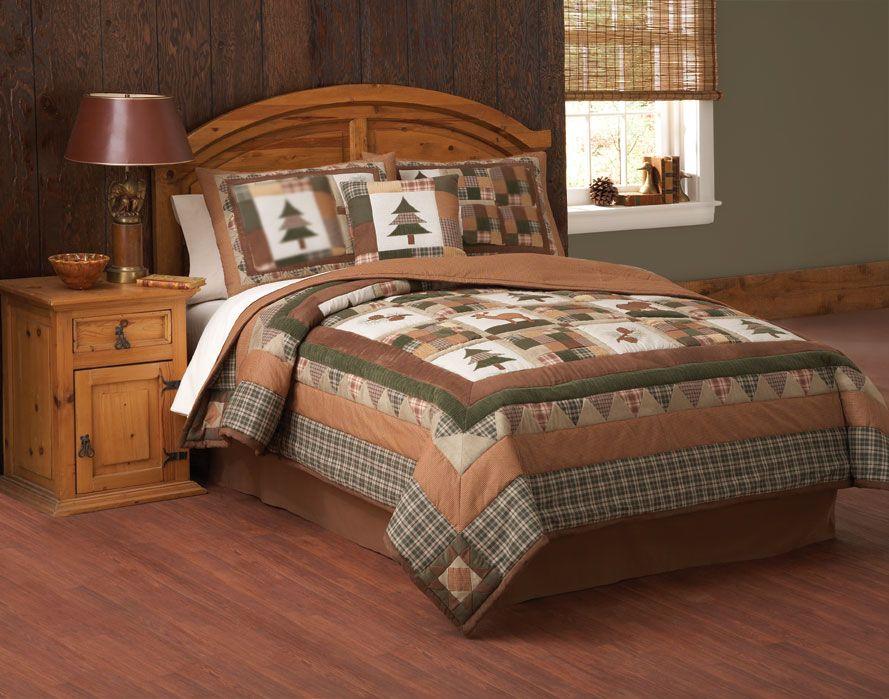 Cabin comforter sets items categories lodge quilt cabin for Hunting cabin bedroom
